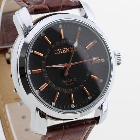 Men Wristwatch Wrist Watch Quartz Movement Brown PU Band Round Dial