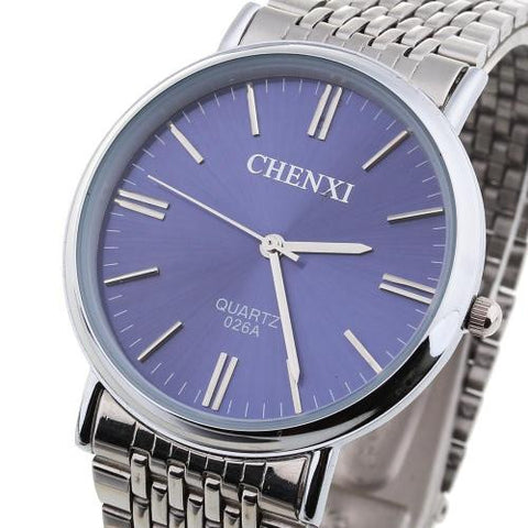 CHENXI Mens Quartz Wrist Watch Wristwatch Round Blue Dial Steel Band Business