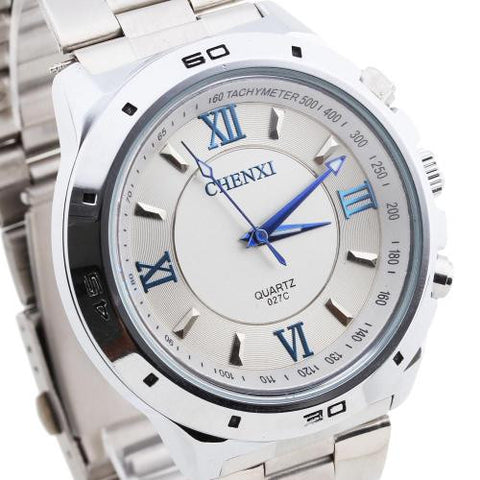 CHENXI Mens Quartz Wrist Watch Wristwatch White Dial Steel Band Roman Numerals