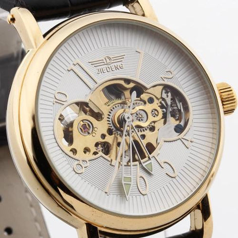 Men Automatic Mechanical Wristwatch Skeleton PU Leather Strap Arabic Numerals