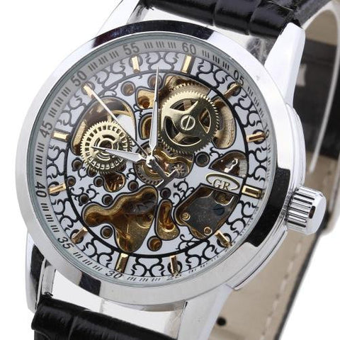 Men Automatic Mechanical Wristwatch Skeleton PU Leather Band Metal Gold Marks