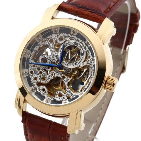 Men Automatic Mechanical Wristwatch Rhinestone Skeleton PU Band Blue Hands