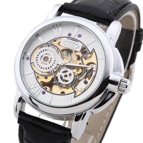 Men Wristwatch Automatic Mechanical PU Leather Band Skeleton Roman Numerals Army