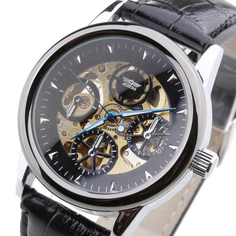 Mens Wristwatch Automatic Mechanical PU Leather Band Skeleton Black Face Sports