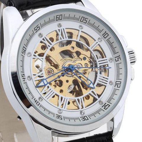 Men Wristwatch Automatic Mechanical PU Leather Band Skeleton Dial Rhinestone