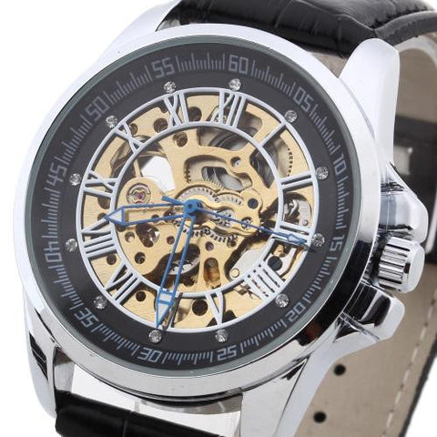 Men Wrist Watch Automatic Mechanical PU Leather Band Skeleton Rhinestone Army