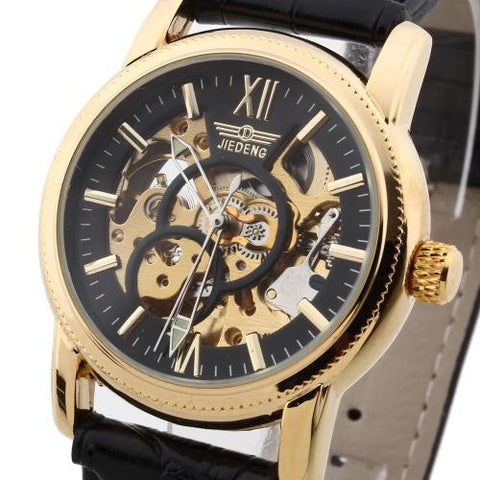 Mens Wristwatch Automatic Mechanical Black PU Leather Band Skeleton Dial Classic