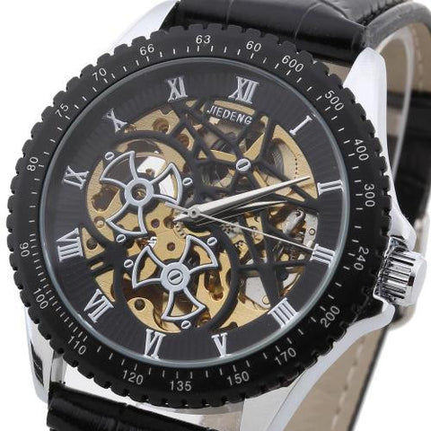 Mens Automatic Mechanical Skeleton Wrist Watch PU Leather Strap Roman Numeral