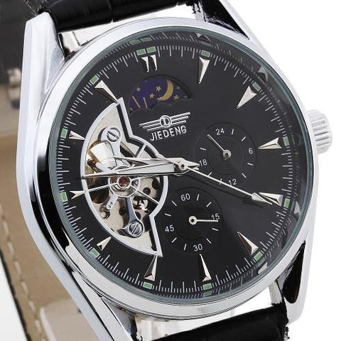 Mens Automatic Mechanical Skeleton Wrist Watch PU Leather Band Round Dial Analog