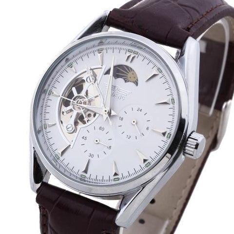 Mens Automatic Mechanical Skeleton Wristwatch PU Leather Band White Dial