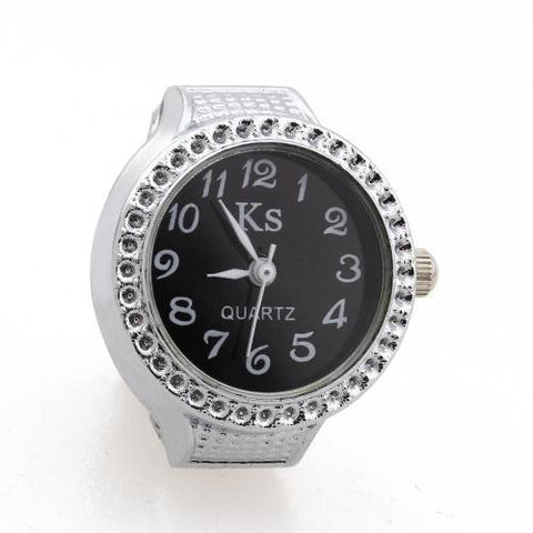 Alloy Round Quartz Pocket Finger Ring Watch Time Piece Silver
