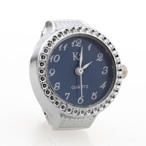 Alloy Round Quartz Pocket Finger Ring Watch Clock Silver Tone