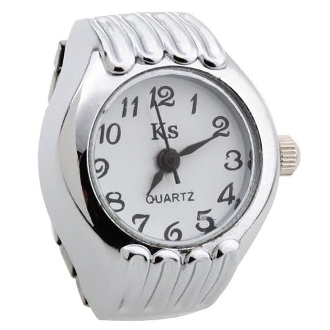 Alloy Round Quartz Pocket Elastic Finger Ring Watch Clock