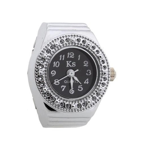 Alloy Round Quartz Elastic Band Pocket Finger Ring Watch Clock Silver