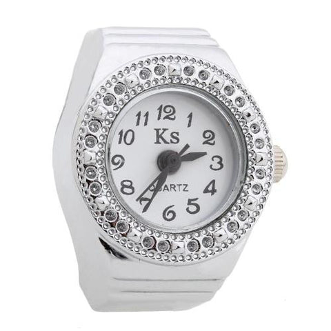 Women Men Quartz Movement Finger Ring Watch White Dial Rhinestone Bezel Gift