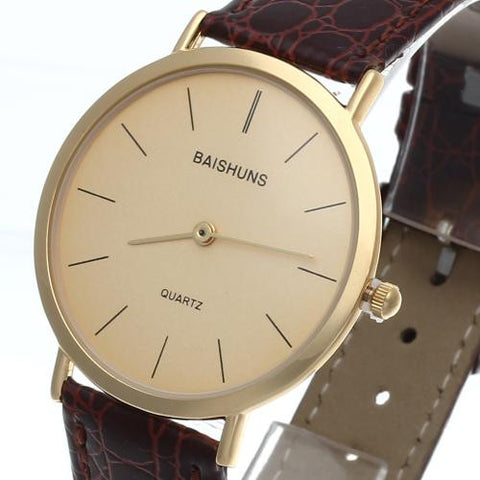 Mens Quartz Wrist Watch Brown Leather Band Gold Bezel Simple Round Dial Hot