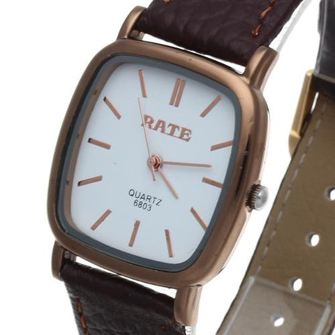 Mens Quartz Wrist Watch Brown Leather Band Gold Bezel Simple Square Dial Hot
