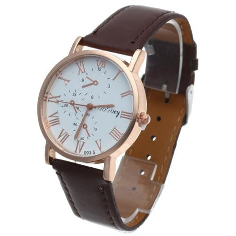 Men Quartz Wrist Watch Brown Leather Band Rose Gold Bezel Round Dial Fashion