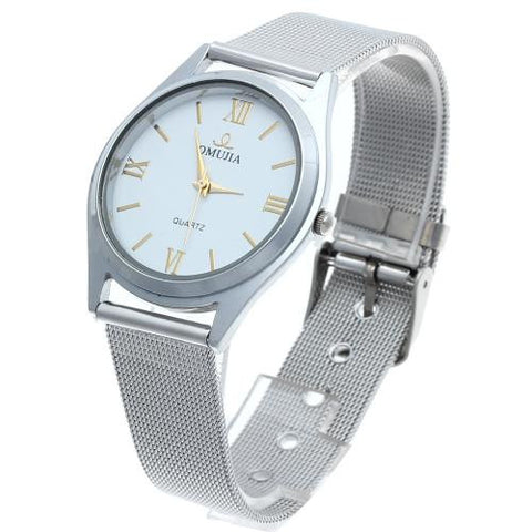 Men's Quartz Wrist Watch Alloy Band Silver Bezel Roman Numerals Mark Dial