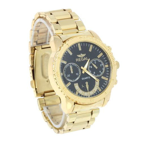 Men's Quartz Wrist Watch Golden Stainless Steel Band Fashion