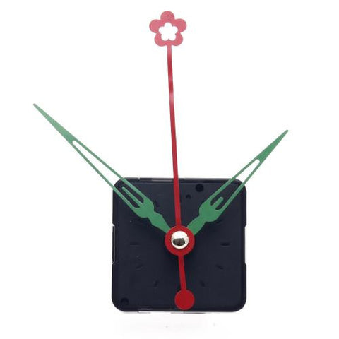 Black Quartz Clock Movement + Green Alloy Hour Minute Red Flower Second Hand