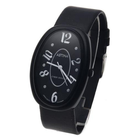 Quartz Wrist Watch Alloy Oval-Shaped Dial Leather Strap for Women Men Gift