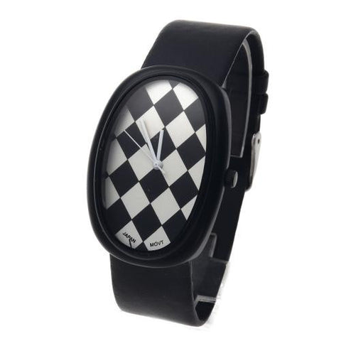 Quartz Wrist Watch Oval-Shape Dial Leather Strap Unisex Rhombus-Shape Pattern