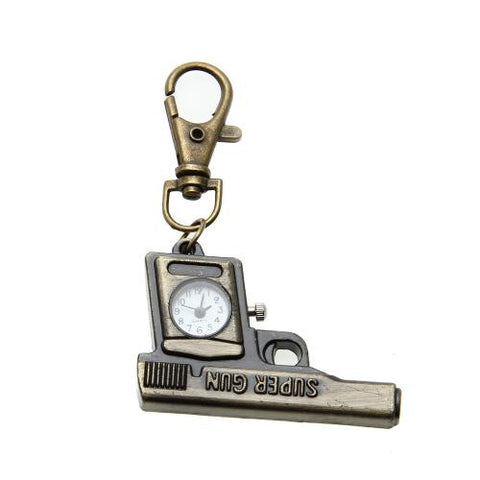 Bronze Machine Gun Style Analog Quartz Keychain Key Ring Pocket Watch Cool Hot