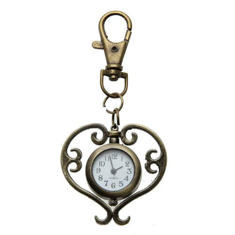 Bronze Heart Style Analog Quartz Keychain Key Chain Ring Pocket Watch Cute New