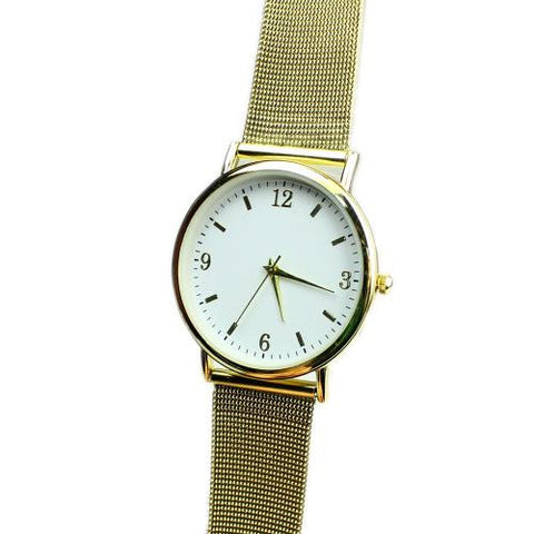 Women Quartz Movement Wrist Watch Gold Tone Alloy Strap Round Dial Elegant