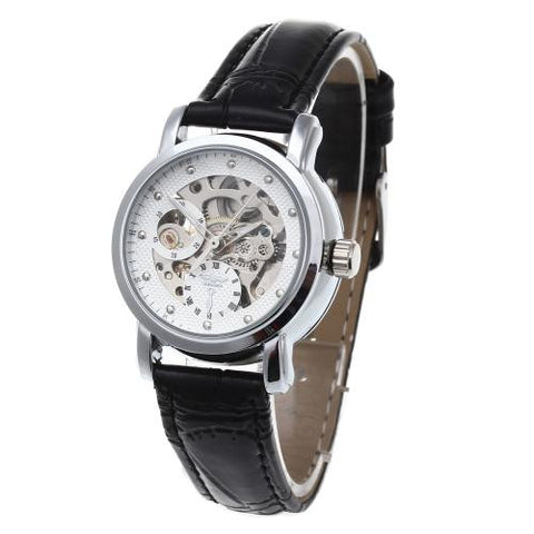 Women Skeleton Automatic Mechanical Wrist Watch Black Leather Band White Face