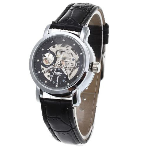 Women Skeleton Automatic Mechanical Wrist Watch Black Leather Strap Hollow Face