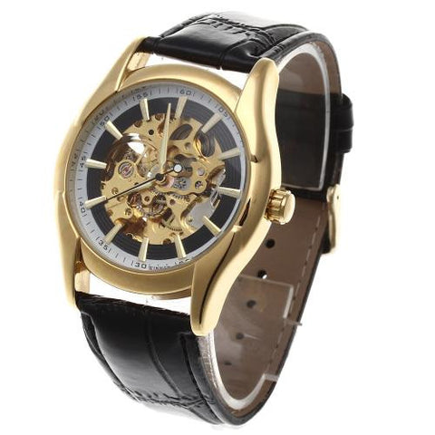 Mens Automatic Mechanical Wrist Watch Leather Band Skeleton Dial Business Gift