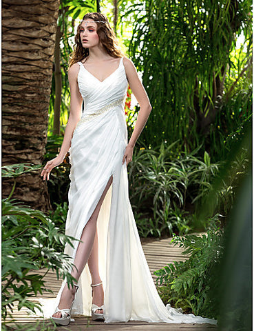 Sheath/Column V-neck Court Train Chiffon Wedding Dress (699596)