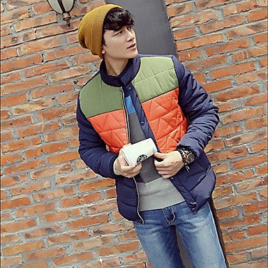 Men's New Thickening Plus-Size Color Stitching Cotton-Padded Clothes Coat