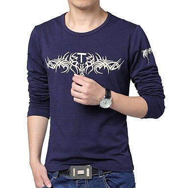 Men's Round Neck Cotton Long-Sleeved T-Shirt