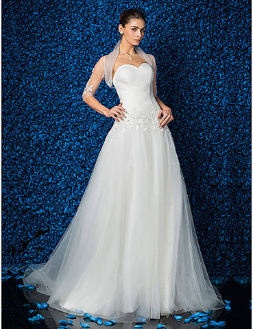 A-line/Princess Sweetheart Tulle Sweep/Brush Train Wedding Dress With A Wrap