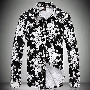 Men's Printed Lapel Leisure Long-Sleeved Shirts
