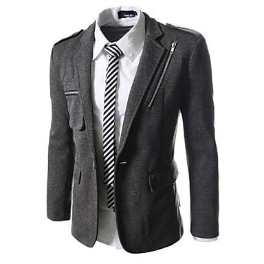 Mens Single Breasted Chest Zipper Slim Fit Stretchy Jacket Blazer