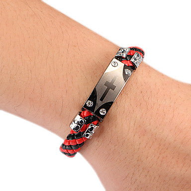 Punk Style Cross Black Red Plaid Leather Bracelet(1 Pc) Leather Color Random