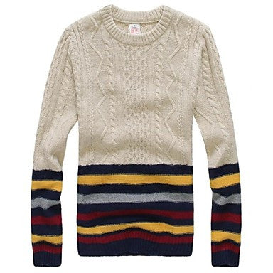 Men's Korean Slim Fashion Round Neck Striped Sweater