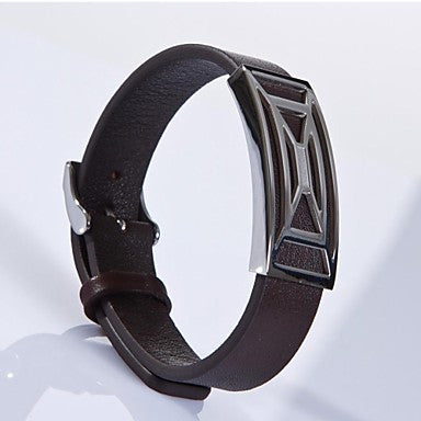 Fashion Men's Brown Spiderweb 316L Stainless Steel Leather Bracelet