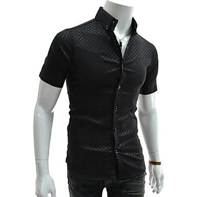 Men's New Style Fashion Dark Grain Grid Slim Short Sleeved Shirt