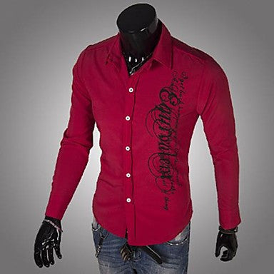 Men's Lapel Print Long Sleeve Shirts