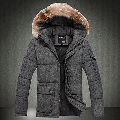 Men's Slim Fur Collar Down Feather Coat