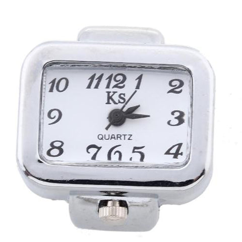 Unisex Alloy Rectangle Quartz Pocket Finger Ring Watch Time Piece White Dial