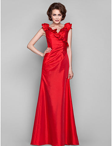 Sheath/Column V-neck Floor-length Taffeta Mother of the Bride Dress With Ruffles