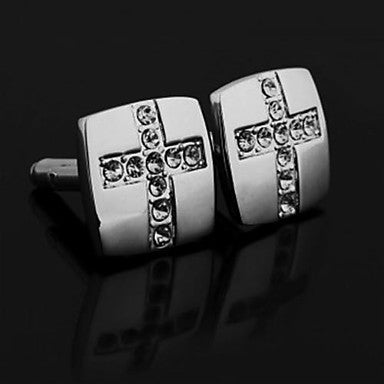 Men's Square Metal Cufflinks Gift Party Wedding Shirt Cuff Link Silver