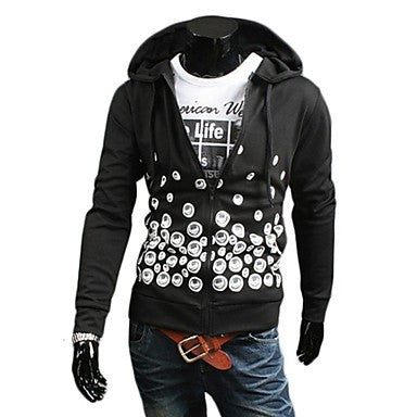 Men's Fashion Casual Simple Printing Design Hooded Sweater