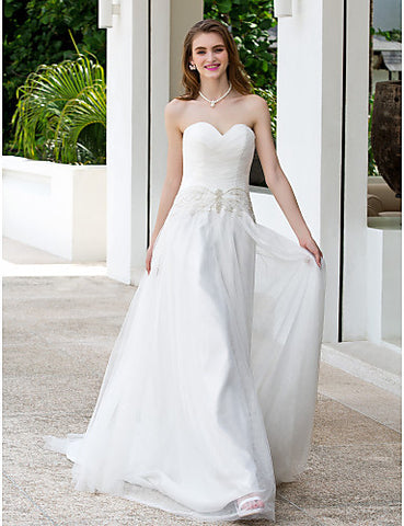 A-line Princess Sweetheart Court Train Tulle Wedding Dress (699574)